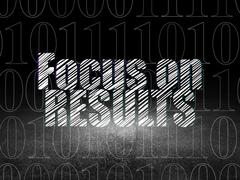 Stock Illustration of Business concept: Focus on RESULTS in grunge dark room