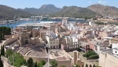 Tilt-up shot of Cityscape of Cartagena, Spain Stock Footage