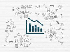 Finance concept: Decline Graph on wall background Stock Illustration