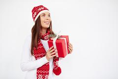Girl with packed gift Stock Photos