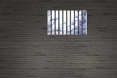 Prison window - stock illustration