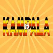 Kampala flag text with sunburst illustration - stock illustration