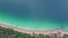 4K Aerial drone vertical pan shot of Patricia Lake in Jasper National Park Stock Footage