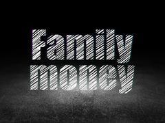 Money concept: Family Money in grunge dark room - stock illustration
