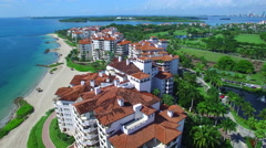 Fisher Island aerial video 2 Stock Footage