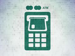 Money concept: ATM Machine on Digital Paper background - stock illustration