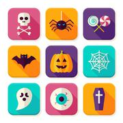 Stock Illustration of Flat Halloween Trick or Treat Square App Icons Set