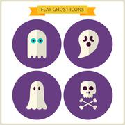 Flat Spirit Ghost Website Icons Set - stock illustration