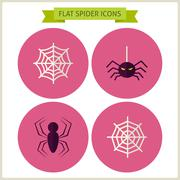 Flat Scary Spider Website Icons Set Stock Illustration