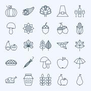 Line Holiday Thanksgiving Day Icons Set Stock Illustration