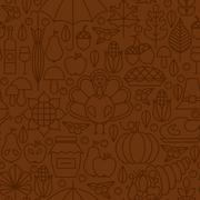 Stock Illustration of Thin Line Holiday Thanksgiving Day Brown Seamless Pattern