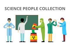 Science laboratory radiation biology vector people - stock illustration