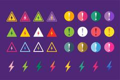 Stock Illustration of Attention warning sign icons set
