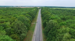 Aerial: flight over road in wood. - stock footage