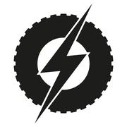 Logotype round wheel with lightning. Eco electric transport theme Stock Illustration