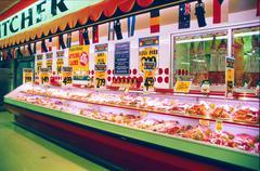 Frozen Meat Department, Supermarket 1980s Kuvituskuvat