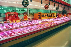 Supermarket Meat Freezer 1980s Kuvituskuvat
