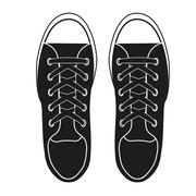 Stock Illustration of Silhouette simple symbol of gumshoes sneakers