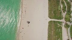 Aerial waterfront shot of the sunny beach in South Point, Miami, Florida. 4K. Stock Footage