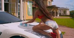 Provocative Car Wash Stock Footage