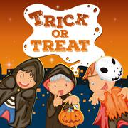 Halloween theme with kids trick or treat Stock Illustration