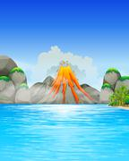 Volcano eruption by the lake Stock Illustration
