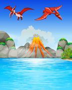 Dinosaurs flying over volcano Stock Illustration