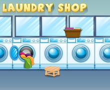 Scene in laundry shop Stock Illustration