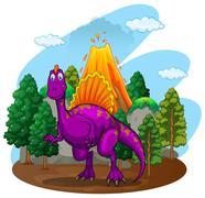 Purple dinosaur with volcano behind Stock Illustration