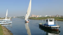 Touristic feluca boat on Nile in Luxor, Egypt Stock Footage
