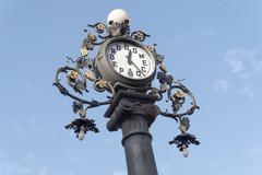 Clock old lamppost on the street, Jerez de la Frontera, Spain Stock Photos