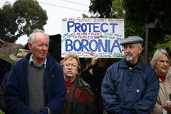 Boronia Residents Hold Protest Signs Against Multi Level Apartment Development Stock Photos