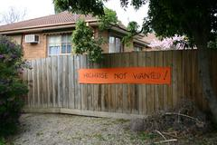 Protest Sign Against High Rise Developments on Boronia Fence Stock Photos