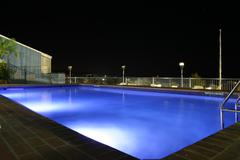 Pool at Nightime, Airlie Beach, Queensland Stock Photos