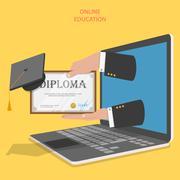 Online education flat vector concept. - stock illustration