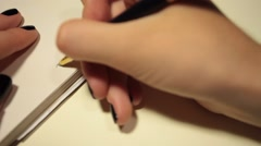 Handwriting in diary. with love. Stock Footage