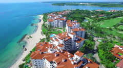 Fisher Island aerial video orbit poi Stock Footage