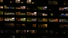 4K Night time exterior view of large modern city hospital Stock Footage