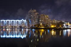 Stock Photo of Building near river Minsk night