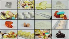 Split screen close up rotation of many colored pils, tablets and capsuls. Stock Footage