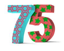Colorful Paper Mache Number on a white background  - Number 75 Stock Photos