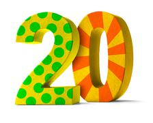 Colorful Paper Mache Number on a white background  - Number 20 - stock photo