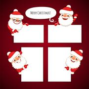 Set of Cartoon Santa Clauses Behind a White Empty Sheet - stock illustration
