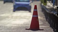 Traffic cones in the race car track Stock Footage