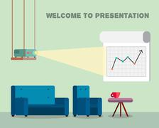Presentation room with projector and comfortable seats Stock Illustration