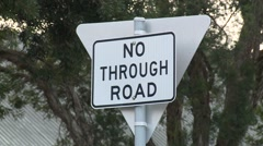 No through Road Sign Stock Footage