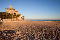 Tamariz Beach in Estoril at Sunset - stock photo