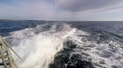 Boat Wake on the Blue Sea.mp4 Stock Footage