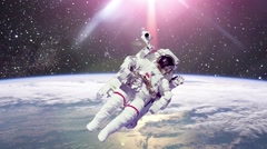 Astronaut In Outer Space Against Of The Planet Earth Stock Footage