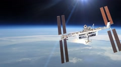 International Space Station Over The Planet Earth - stock footage
